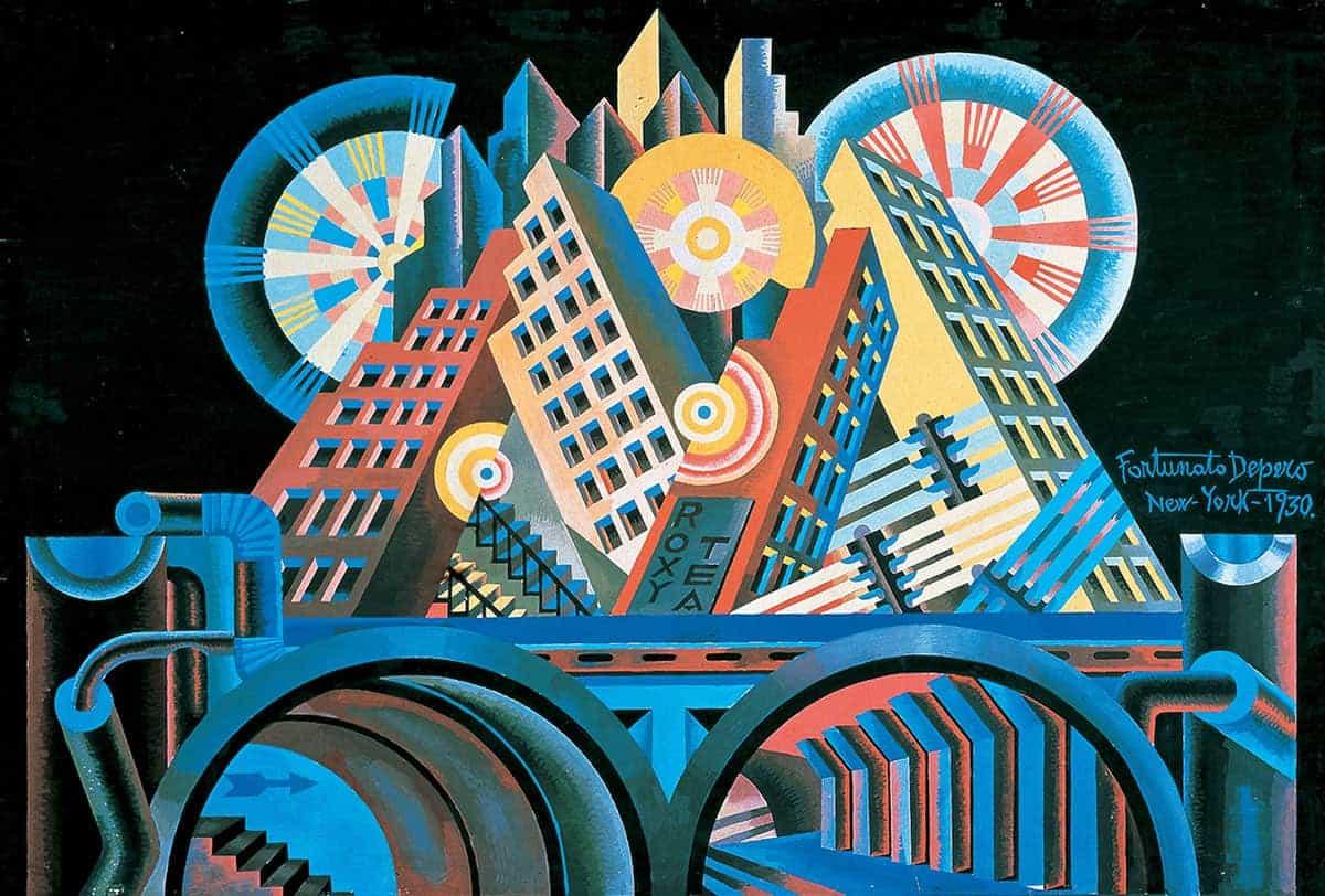 Futurismo. Estilo y estética – Fortunato Depero, 'Rascacielos y túneles' (Gratticieli e tunnel), 1930.