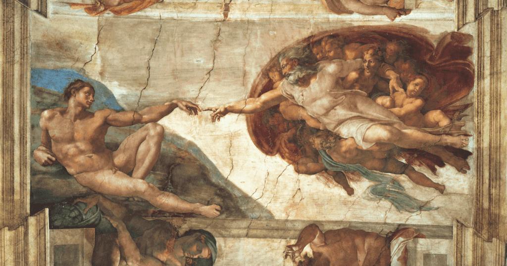 """""""La creación de Adán"""", de Miguel Ángel."""