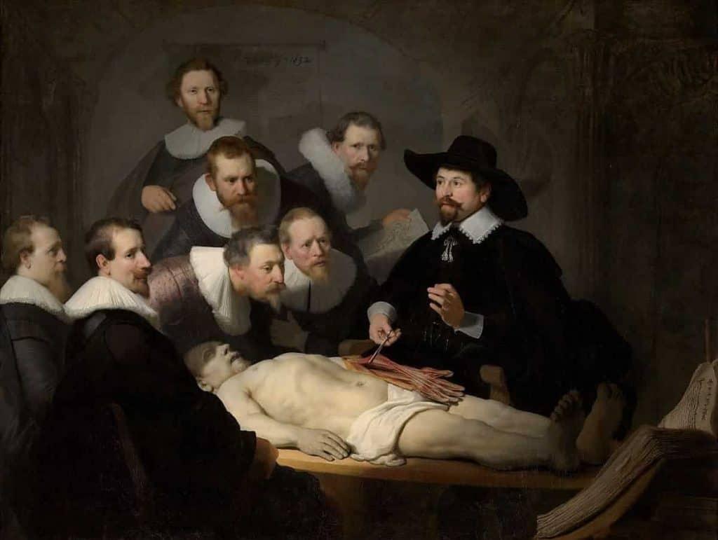 La lección de anatomía del Dr. Nicolaes Tulp, cuadro del pintor Rembrandt.